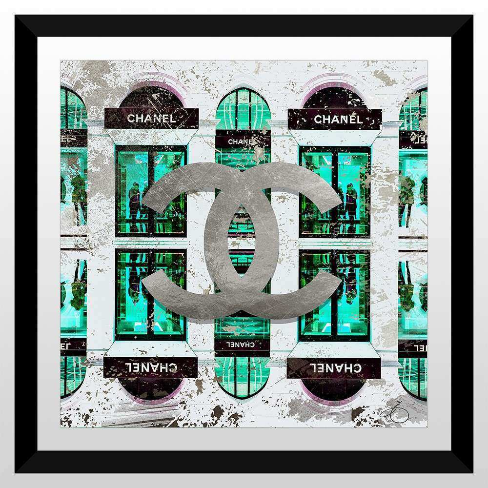 "BY Jodi ""Shop Chanel In Blue"" Framed Plexiglass Wall Art"