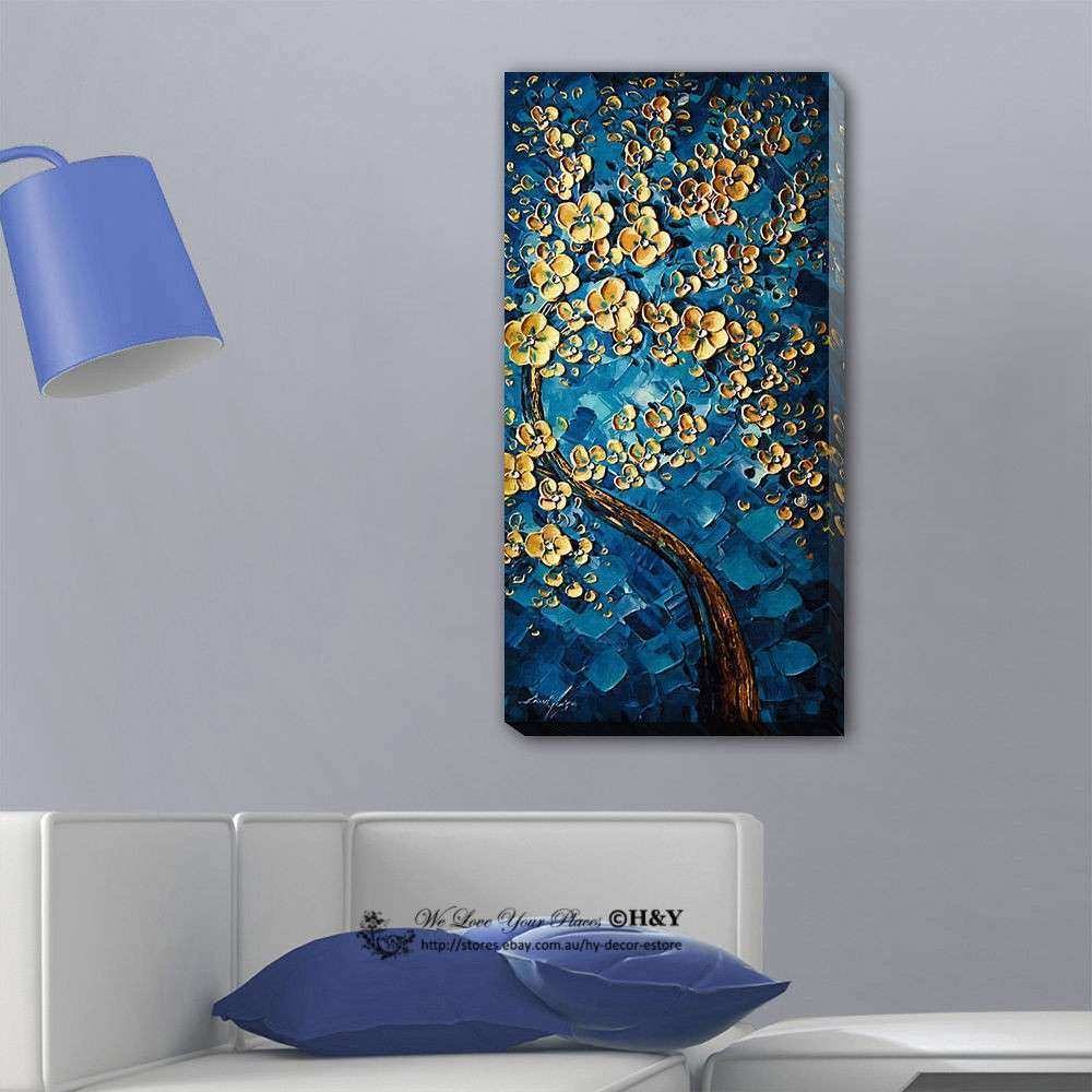 Blue Flower Tree Stretched Canvas Print Framed Wall Art