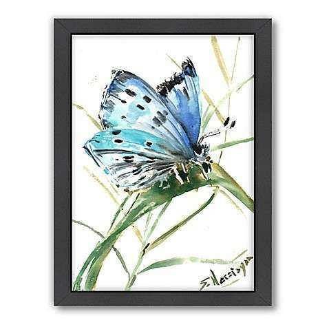 Buy Americanflat Butterfly Blue 3 Wood Framed Wall Art