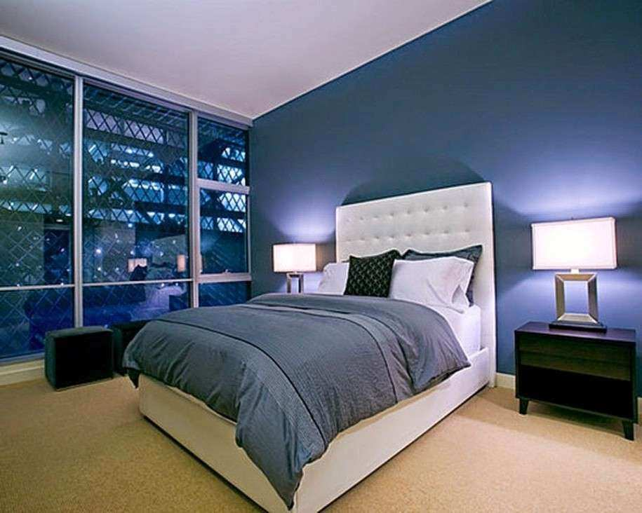 The Modern Home Decor Bedroom With Blue Wall Paint
