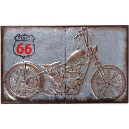 Wilco Motorcycle Galvanized Metal Wall Decor Grey Brown