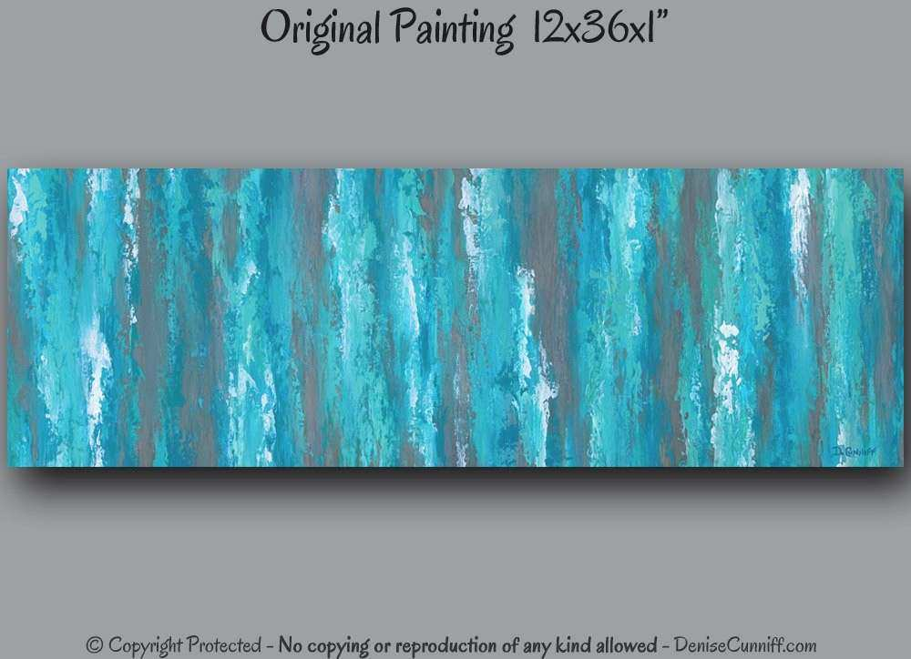 Teal abstract canvas painting Teal Shabby Chic home decor