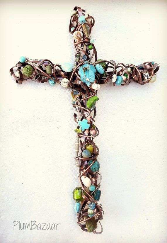 Handmade wire wrapped beaded cross wall decor brown and