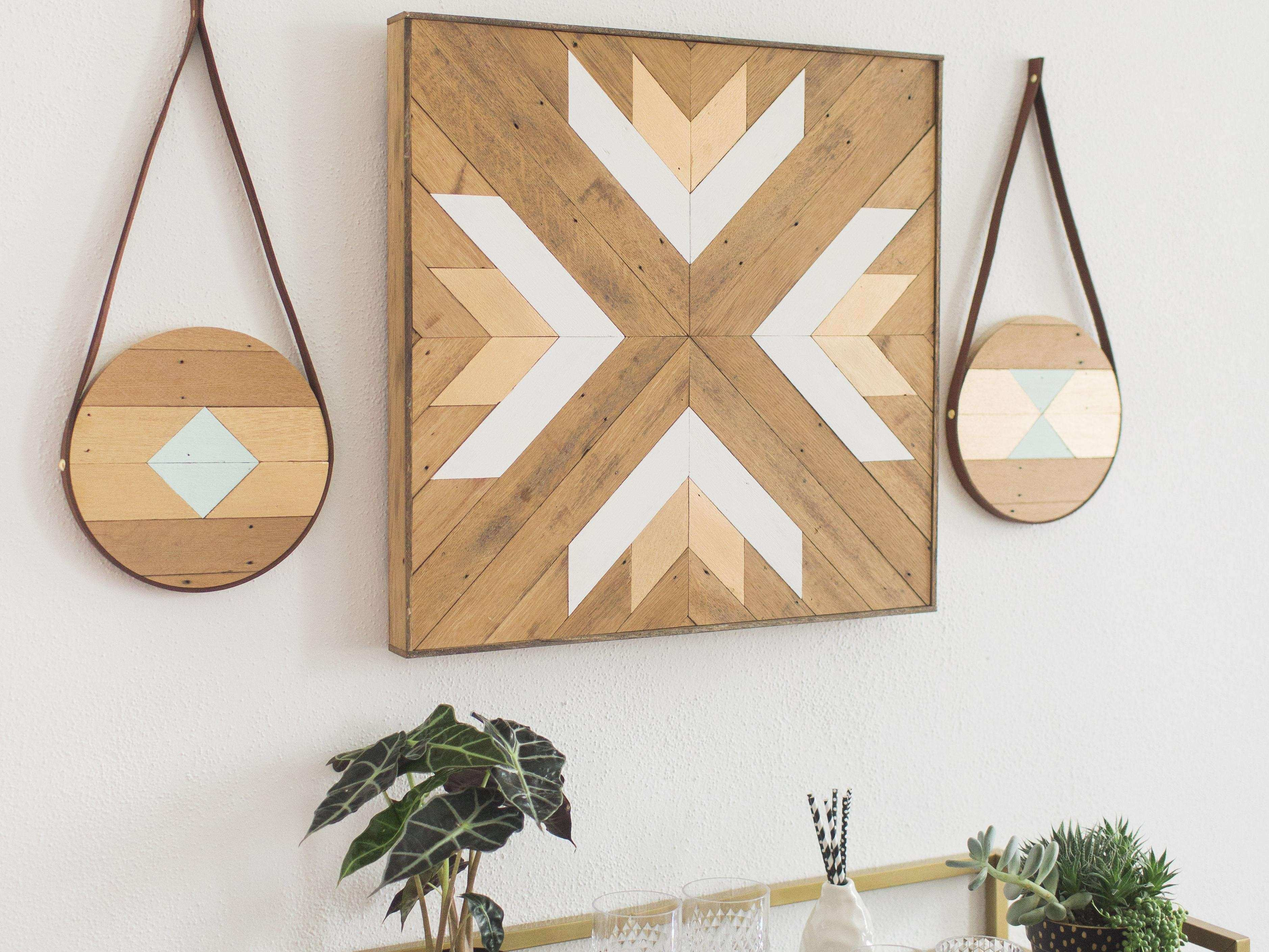Round Geometric Reclaimed Wood And Brown Leather Wall Art
