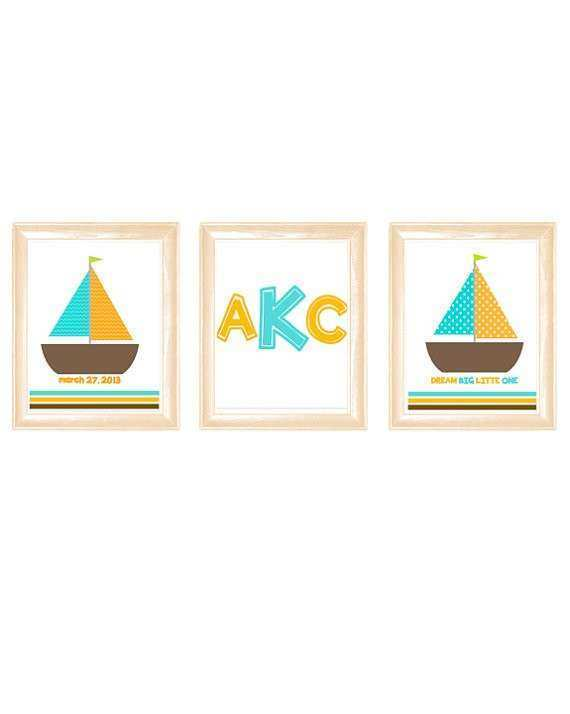 Items similar to Sailboat nursery wall art turquoise