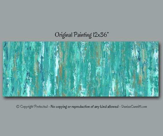 Turquoise teal blue Abstract painting wall art