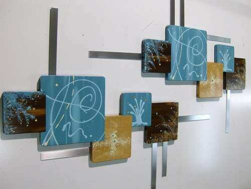 Stylish Turquoise Brown Abstract Geometric Squares Wall