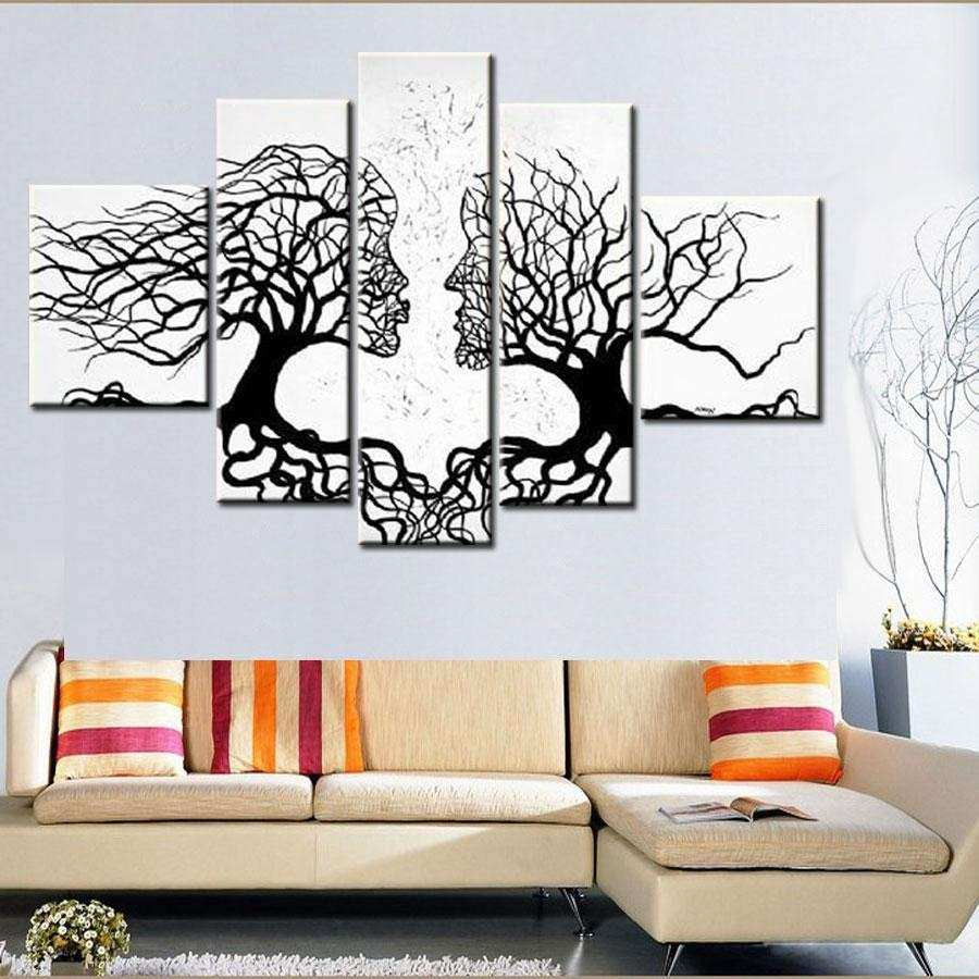 2018 Hand Made Promotion Black White Tree Canvas