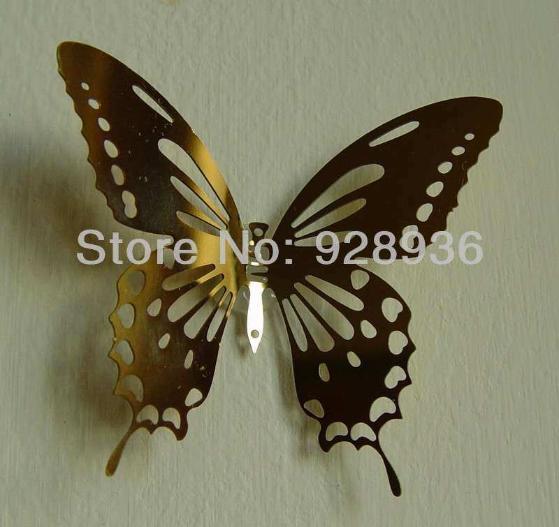 Butterfly Wall Art New Gold Color 8 0 6 0cm 3d butterfly Mirror Wall Sticker Home