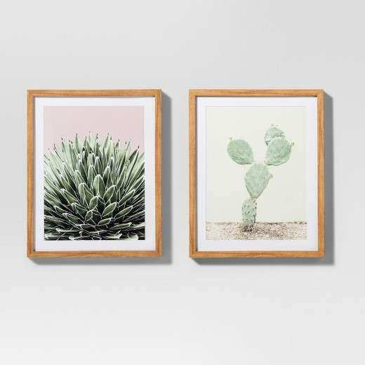 "Framed Cactus Wall Print White Green 16""x20"" 2pk Project"