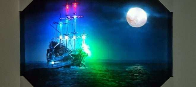 Canvas Light Up Wall Art Beautiful New Led Lighted Blue Ship Moon View Picture Frame Canvas