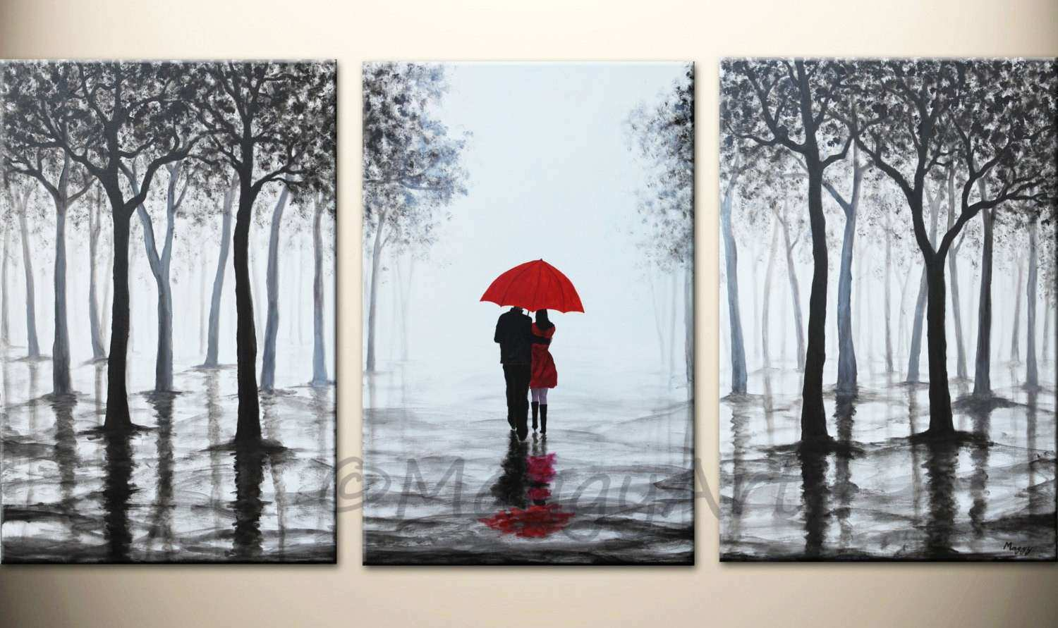 Wall Art Red Umbrella large abstract paintingoriginal