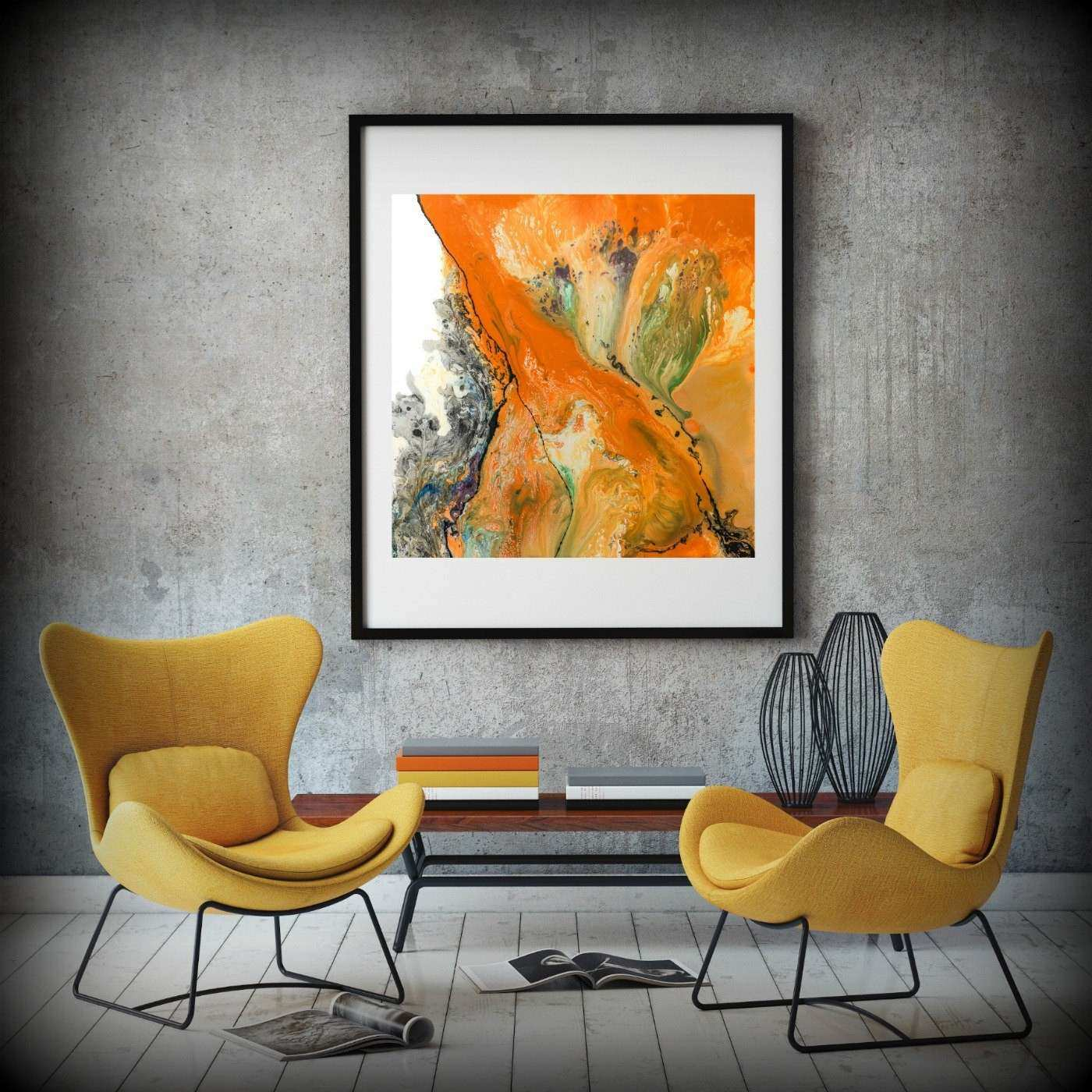 LIVING ROOM DECOR Square Wall Decor Orange Wall Art Dining