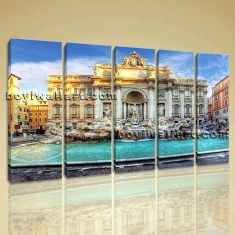 Trevi Fountain Landscape Canvas Wall Art Home