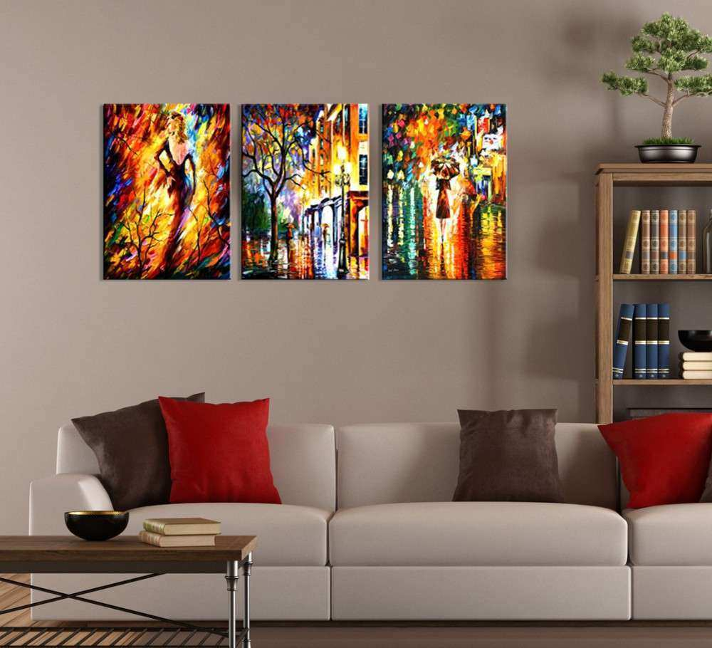 Wall Art Ideas Design Colorful Abstract Three Piece Wall