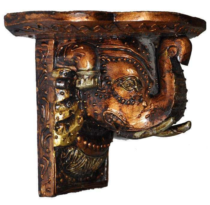 Indian Art Wooden Wall Shelf Carved Paint Decor Handicraft