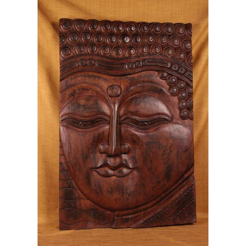 Hand carved Teak Buddha Panel India