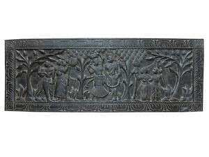 HEADBOARD PANEL RADHA KRISHNA CARVED WOOD ANTIQUE INDIA