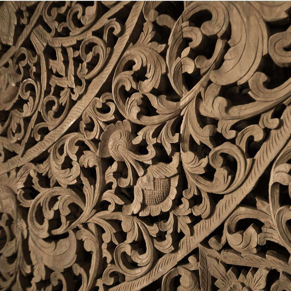 Grand Carved Wooden Wall Art or Ceiling Panel Siam