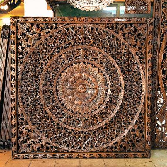 Hand Carved Wall Art Panel From Thailand By SiamSawadee