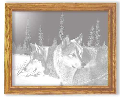 Black friday Decorative Framed Mirror Wall Decor With Wolf