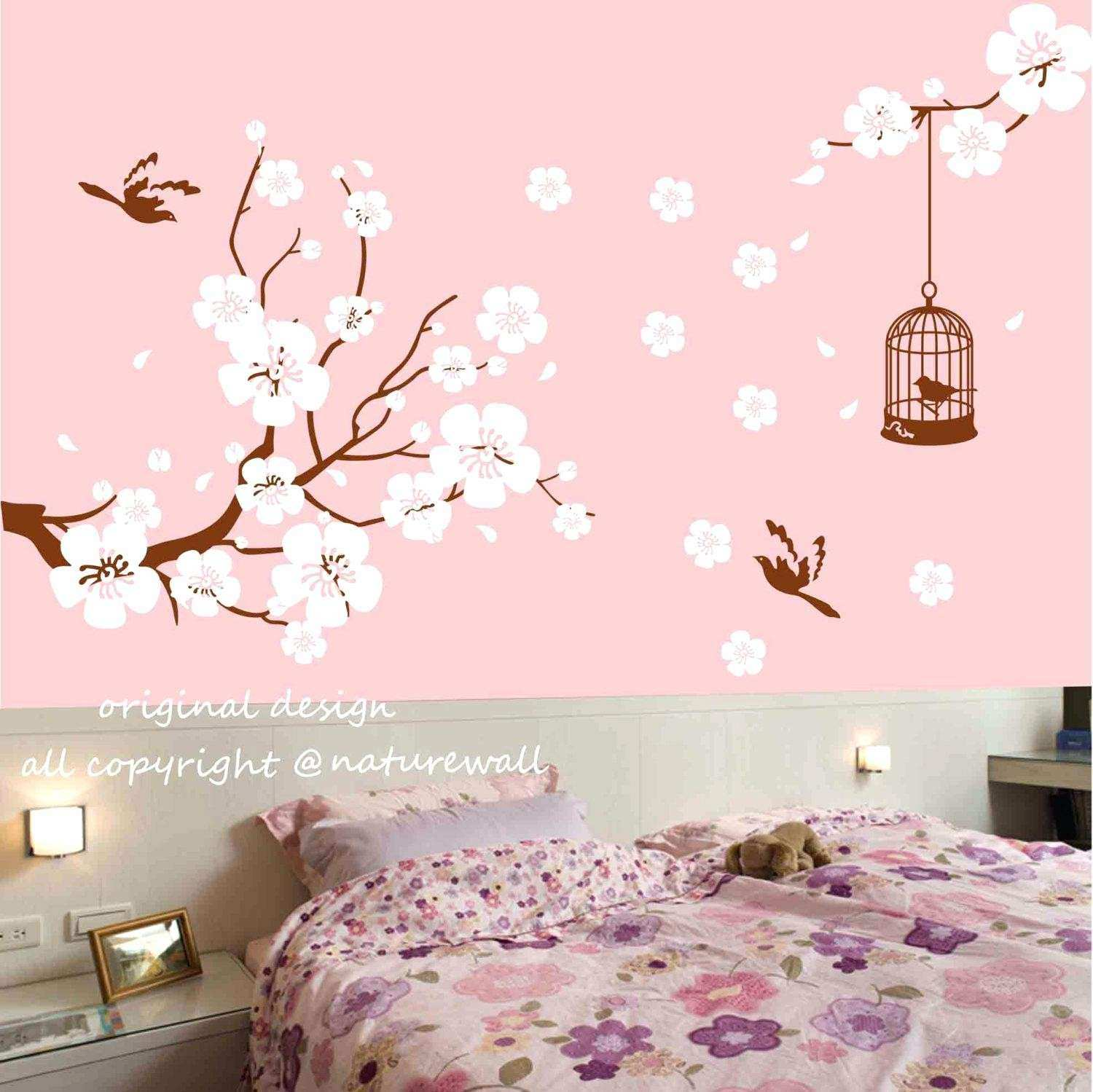Cherry Blossom Tree Branch With Birds Vinyl Wall Stickers