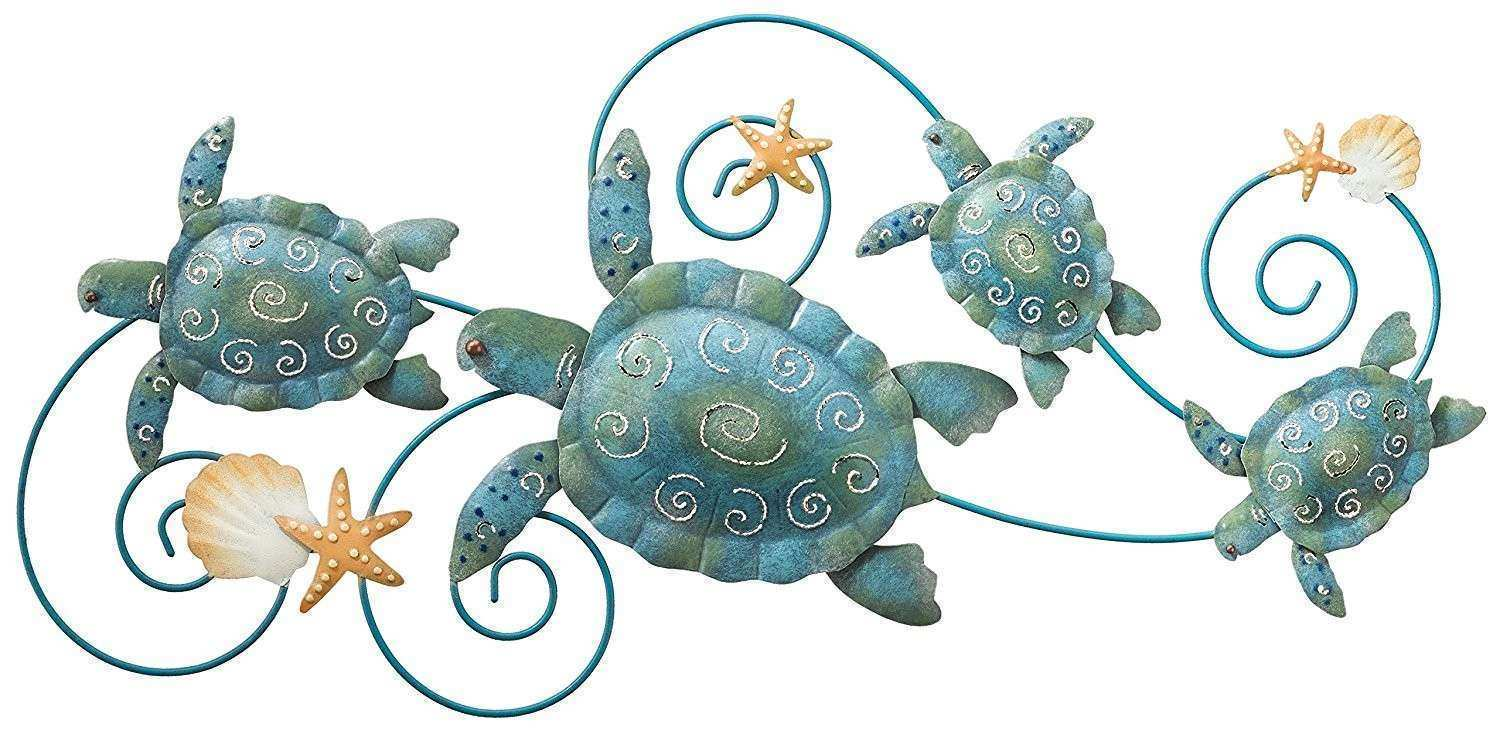 Great Sea Turtle Metal Wall Art 99 For Chinese Four