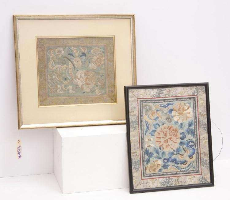 2 Framed Chinese silk embroidered panels