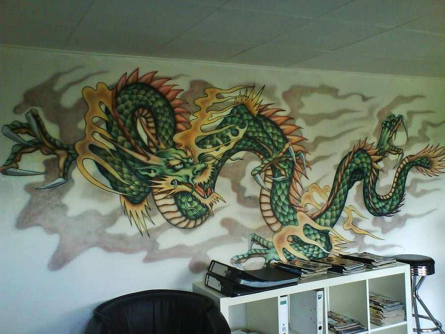 Chinese Wall Art Unique Art Wall Decor Chinese Murals with Dragon ...