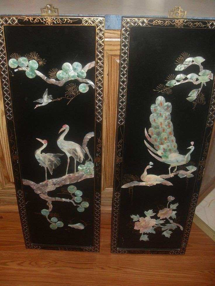 Chinese Wall Decor Beautiful Vintage Carved Shell Mother Of Pearl Art