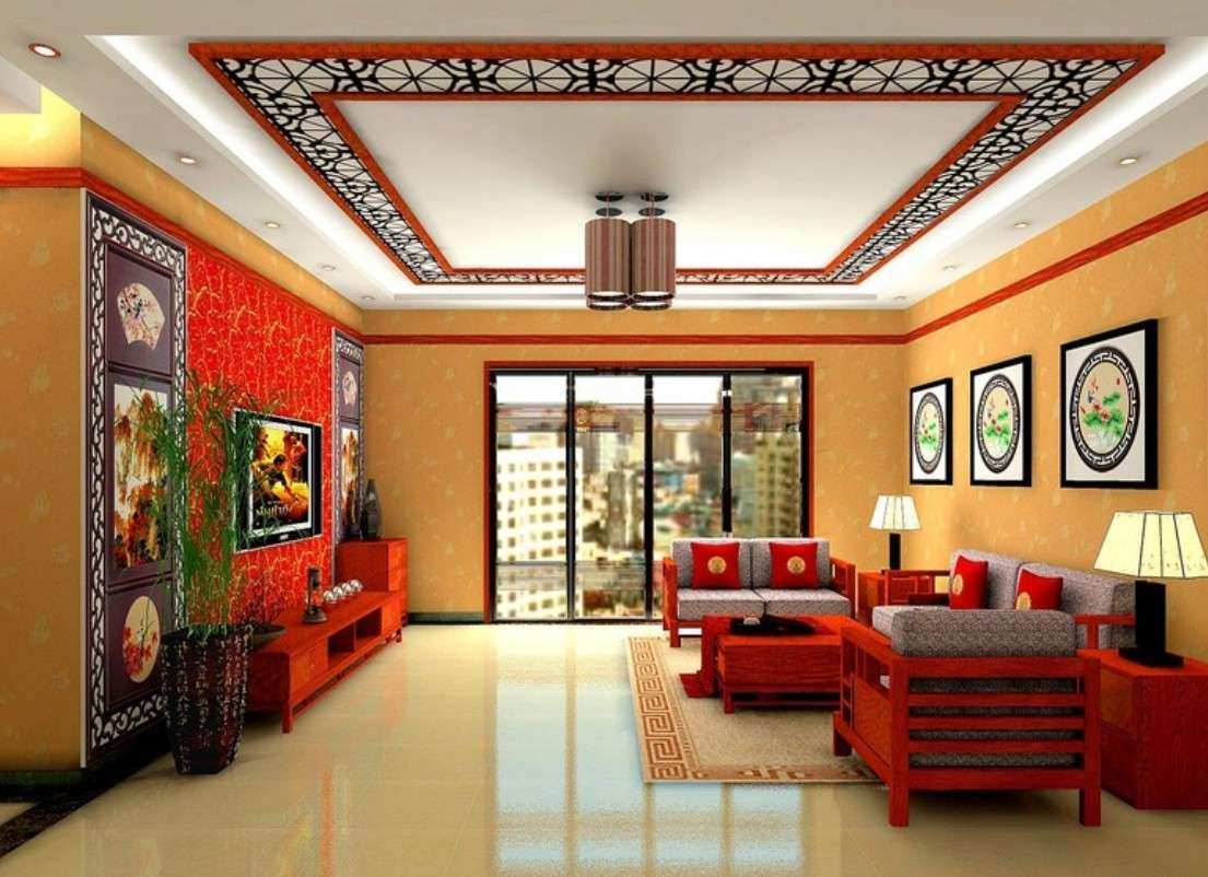Oriental Asian Living Room With Decorative Ceiling Design