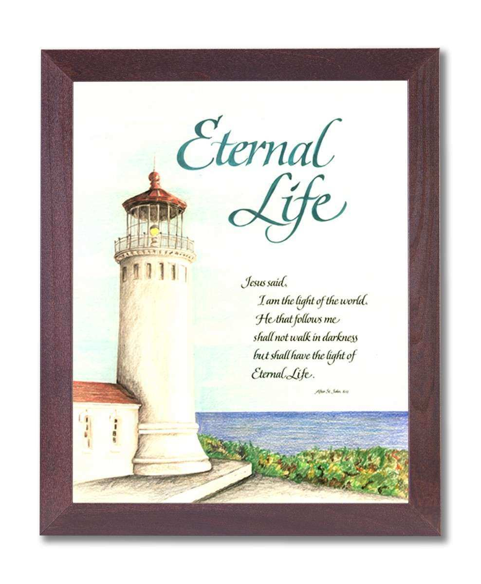 Ocean Lighthouse Eternal Life Religious Wall Picture
