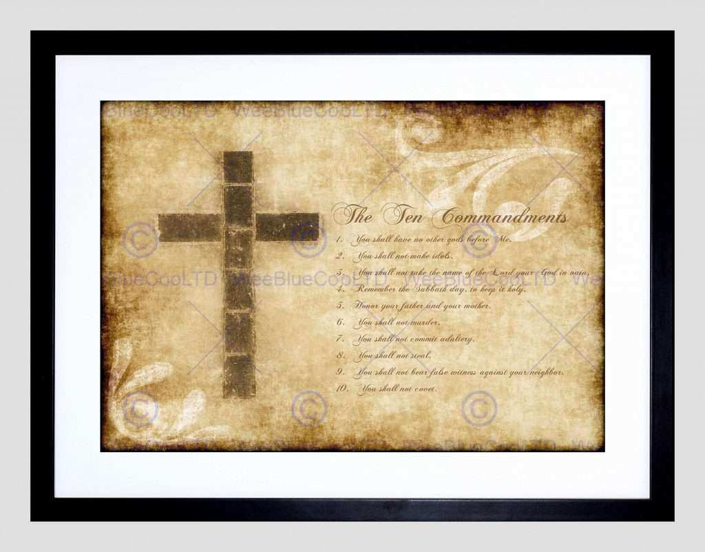 Christian Wall Art Prints Awesome Ten Mandments 10 Cross Christian ...