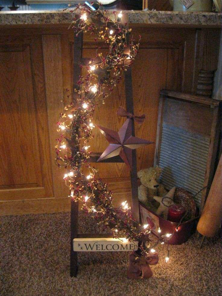 christmas outdoor wall decorations inspirational 82 best images about primitive ladder ideas on pinterest - Primitive Christmas Porch Decor
