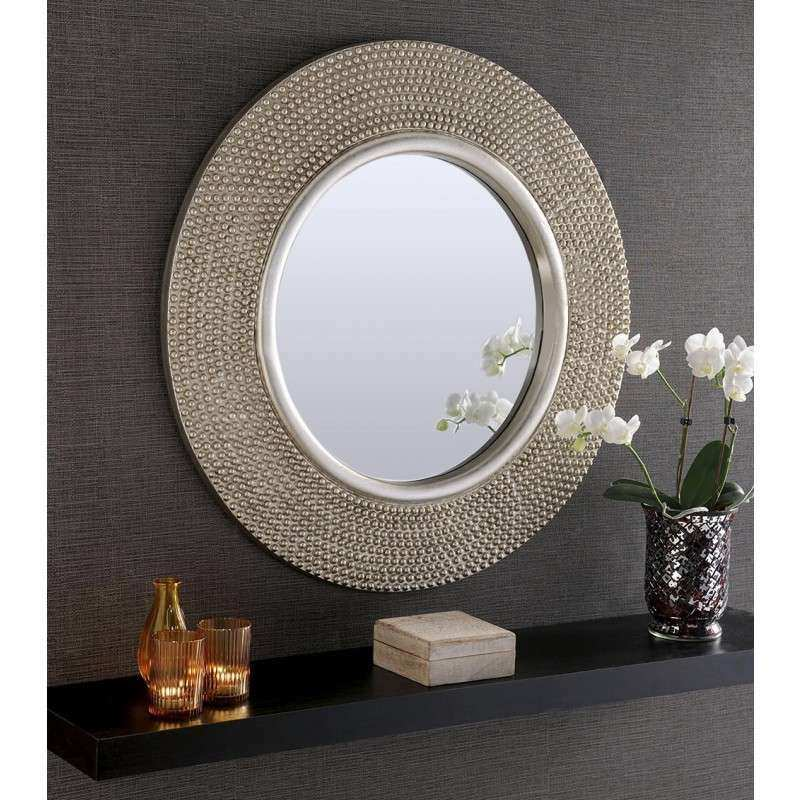 Rome Round Silver Stud Framed Wall Mirror 31