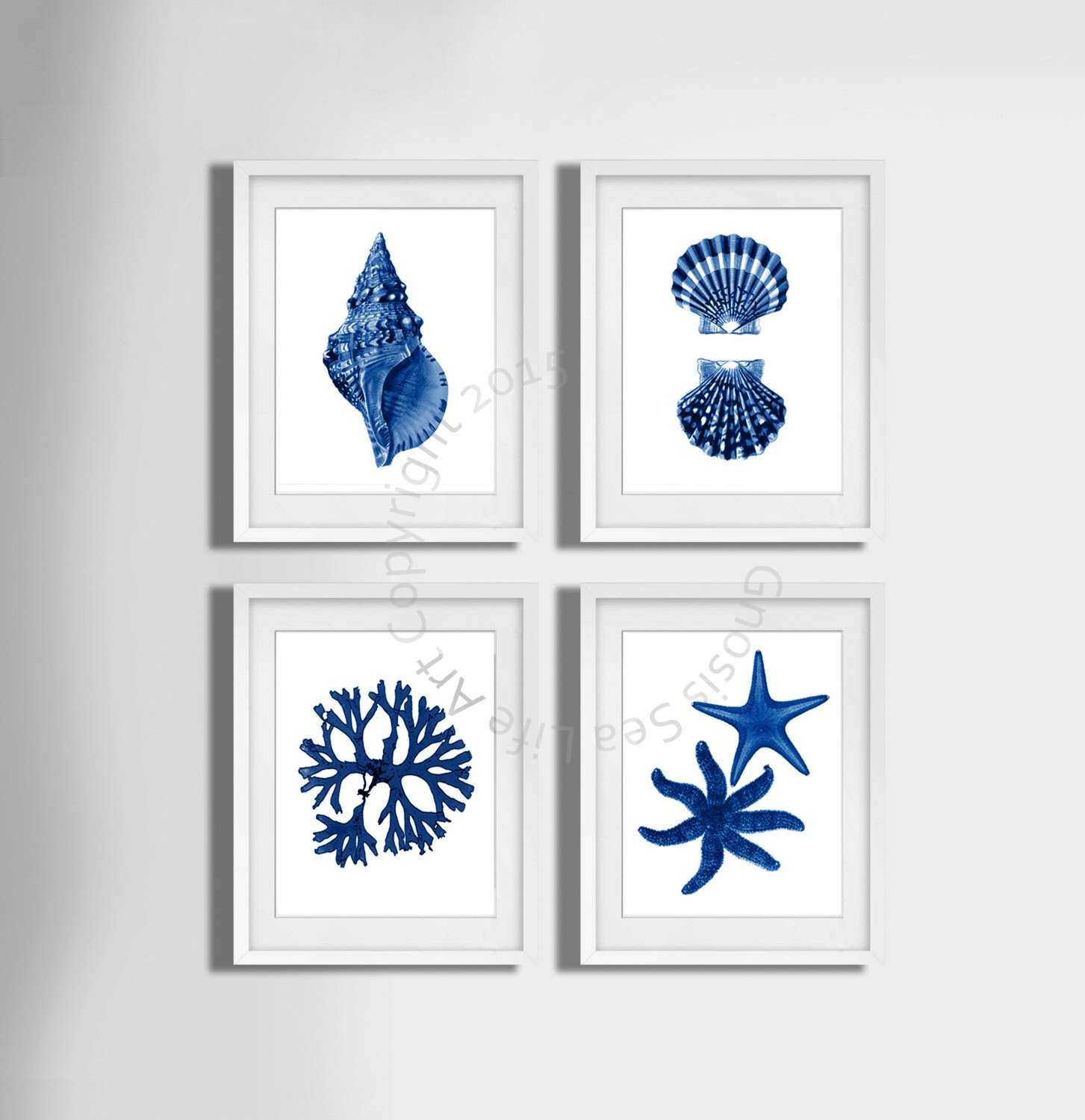 Coastal Wall Art New Navy Blue Wall Art Set 4 Beach Decor Seashells Seaweed and