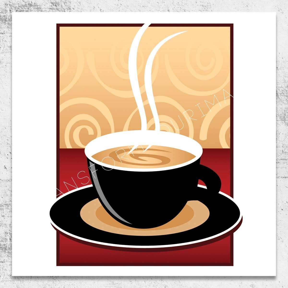 Coffee Wall Art Awesome Coffee Illustration Square Wall Art   Wall ...