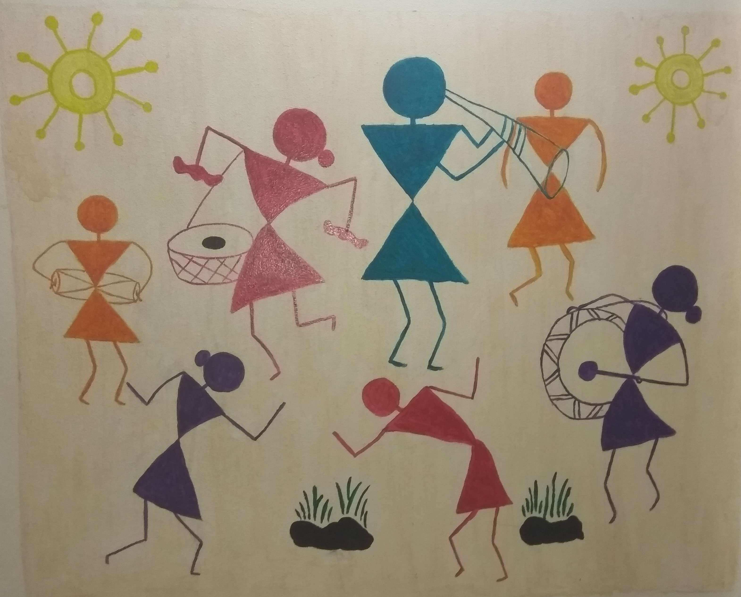 Warli Paining on Wall – Colorful Art Space