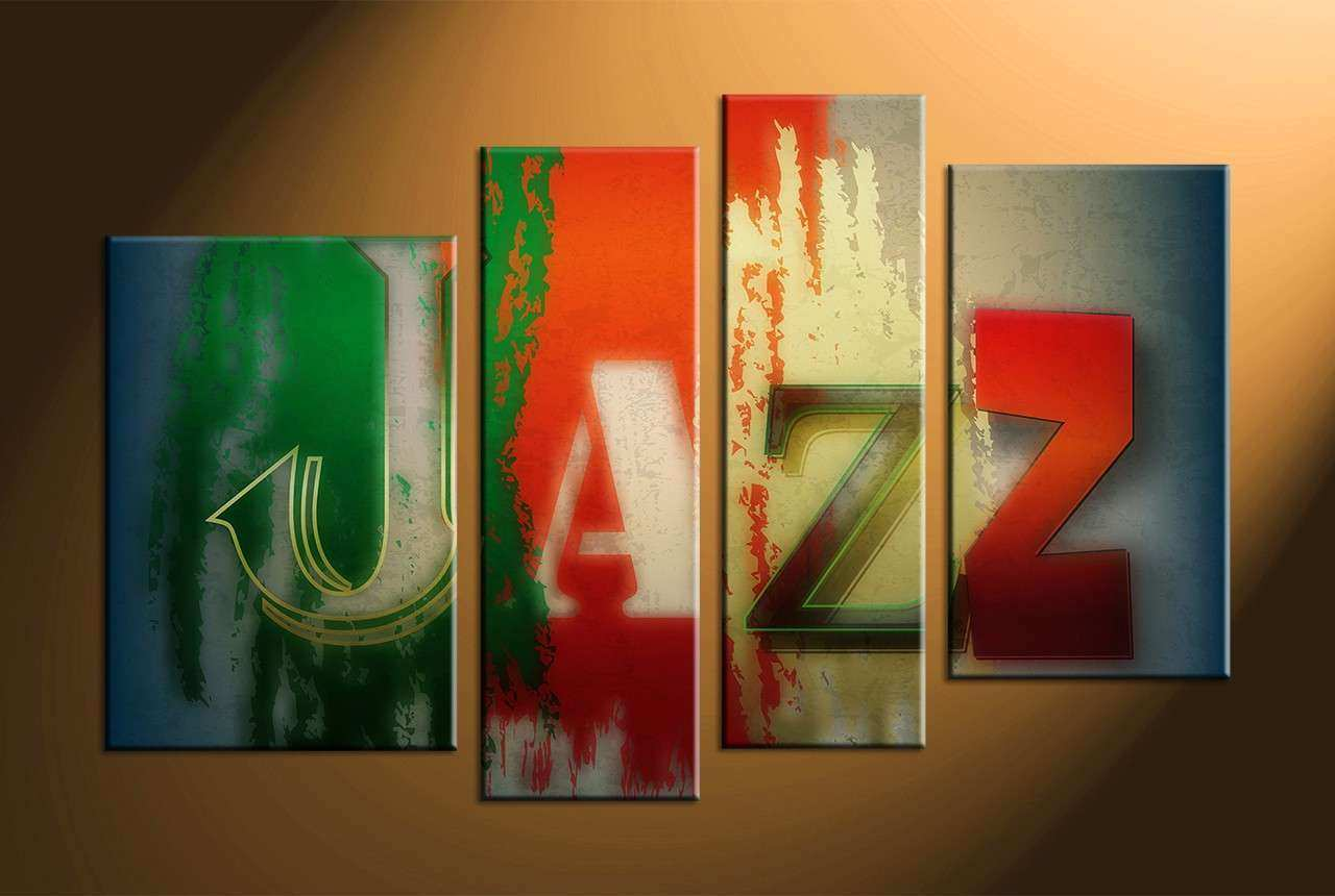 4 Piece Colorful Canvas Jazz Music Multi Panel Art
