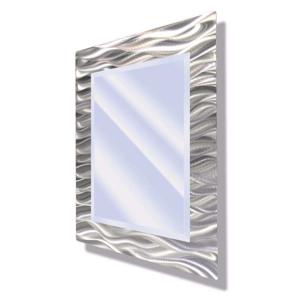 Contemporary Hanging Wall Mirror Silver Abstract Metal