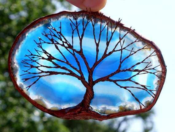 Copper Wire Tree Life Metal Wall Art Sculpture A Blue