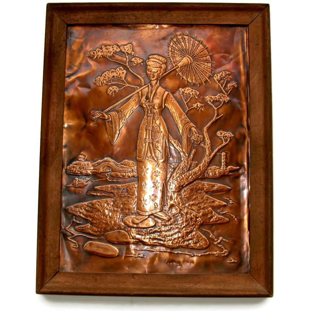 Pressed Copper Relief Geisha Wall Art Hanging by