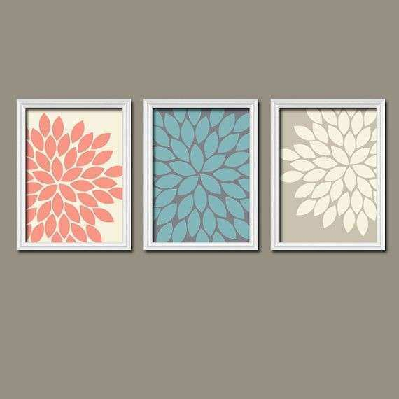 Coral Colored Wall Decor Elegant Coral Wall Art Coral Bedroom Canvas Or  Prints