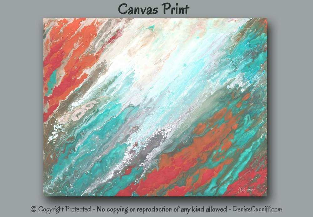 Completely new Coral Colored Wall Decor New Teal Coral Aqua Canvas Wall Art  IY65