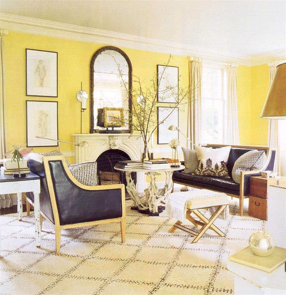 French Country Wall Lamp Wood Floor Yellow Living Room