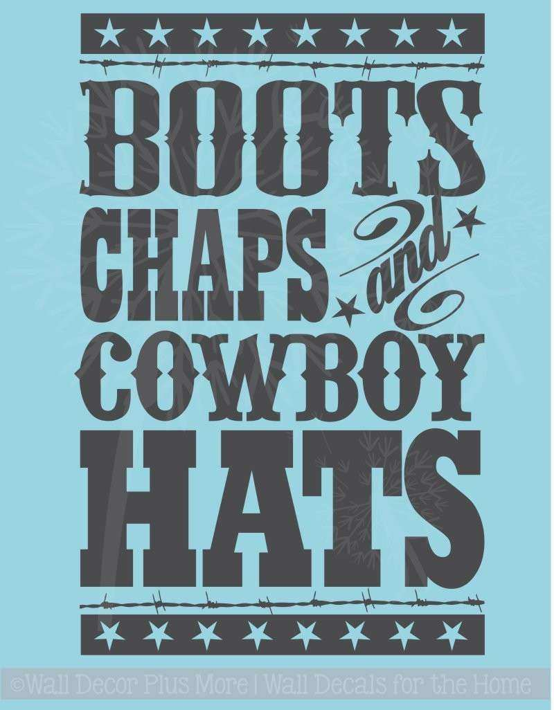 Boots Chaps and Cowboy Hats Western Boys Wall Decal