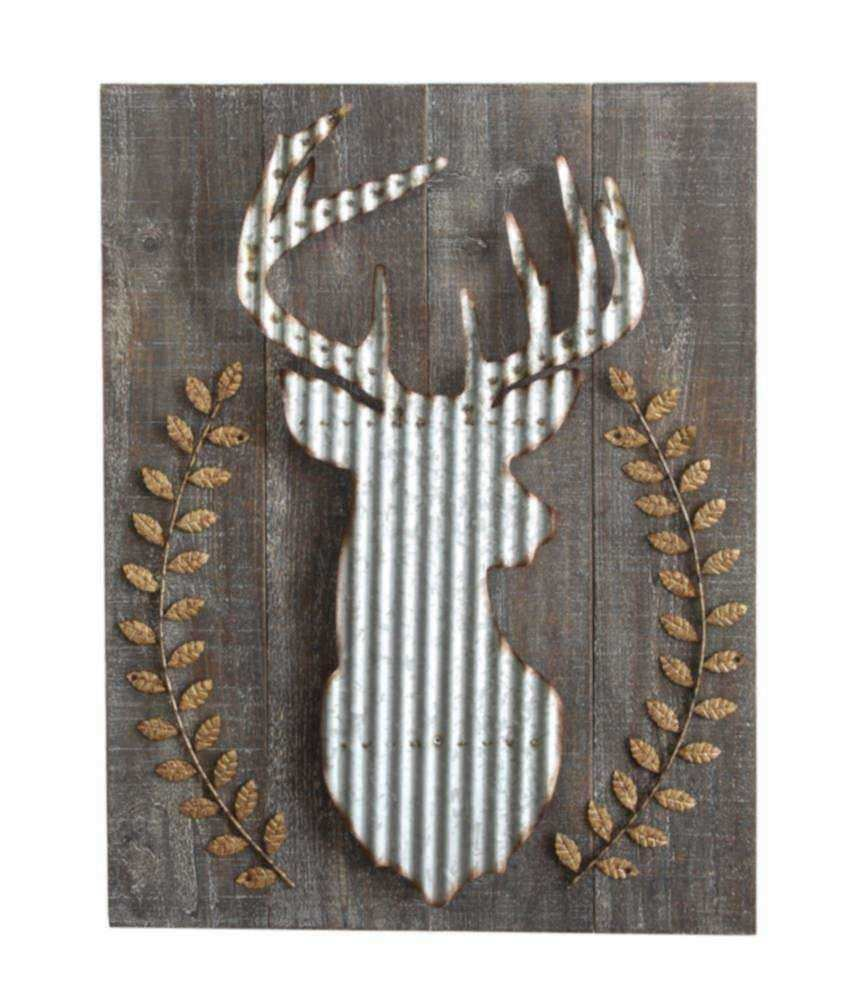 Creative Co Op XC7580 Wood And Corrugated Metal Deer Wall