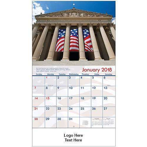 Promotional 2018 America Stapled Wall Calendars Wall