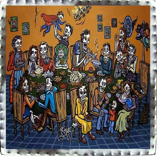 Day of the Dead Art Tin Wallhangings Thanksgiving Feast