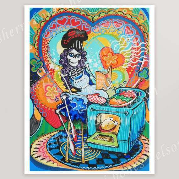 Mexican Kitchen Catrina Art Print Day of the Dead Cook Wall